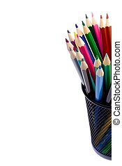 stack of colour pencils inside the container on white...