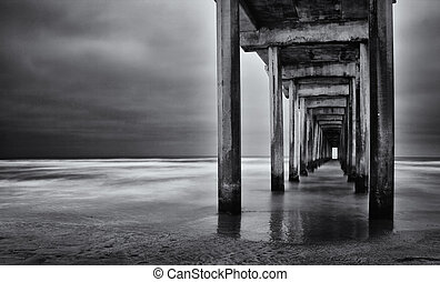 La Jolla beach California long exposure under the pylons -...