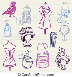 Set of Fashion Hand drawn Doodles - for your design and...