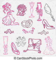Set of Beautiful Wedding Hand Drawn Elements - in vector