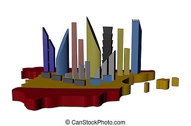 abstract skyscrapers on Spain map flag illustration