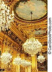 Gold ceiling and chandeliers - Opulent cristal chandeliers...