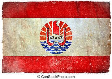 French Polynesia grunge flag