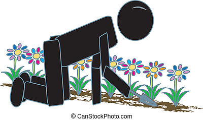 Stick Figure Gardening - simple drawing of a stick figure...