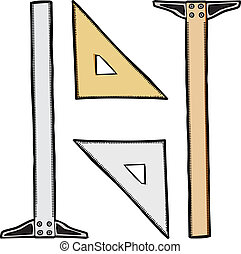 Triangle and T-Square - Generic clear and wooden drafting...