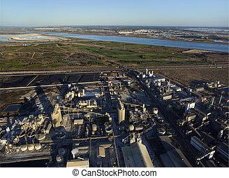 antena, Prospekt, nad, przemysłowy, pas, Huelva, Andalusia,...