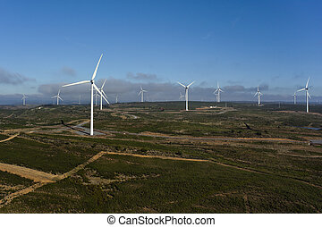 Aerial view of a set of windmills for electric power...