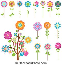 retro flowers set - colorful retro flowers and tree set