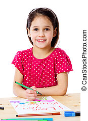 Little girl draw for mum - Smiling little girl at the table...