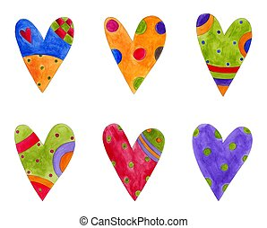 Hearts. Set of decorative elements - Artistic work....
