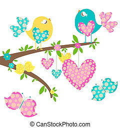 spring birds with love hearts