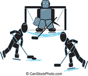 Stick Figures Playing Hockey - simple drawing of stick...