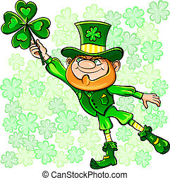 Vector St Patricks Day leprechaun on the fly leaf clover -...