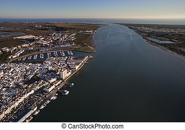 Aerial view of the mouth of the Guadiana river