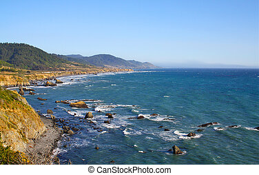 West Coast Sea - Coastal Panorama with Blue Sea and clear...