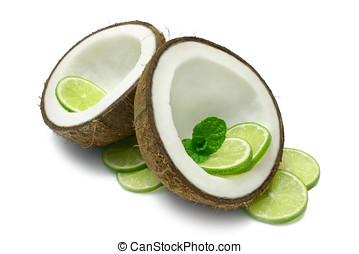Coconut and Lime - Coconut halves with Lime slices and mint...