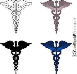 Caduceus symbols isolated on white background. Blue, grey, white and black colors.