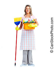 Housewife cleaner woman. - Young smiling cleaner woman....
