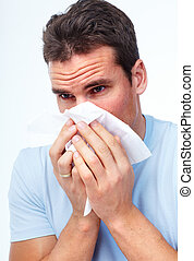 Sneezing man having cold.