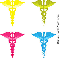 Color caduceus symbols isolated on white background. Yellow, blue, pink and green.