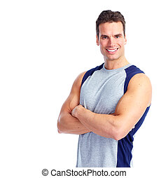 Happy Fitness man Isolated on white background