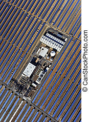 aerial view of solar parabolic power plant