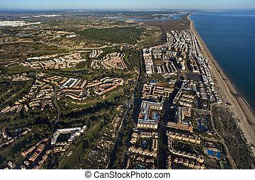 huelva, antena, Andalusia, islantilla, Plaża, Hiszpania,...