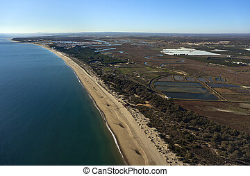 aerial view of the Islantilla beach in Huelva, Andalusia, Spain
