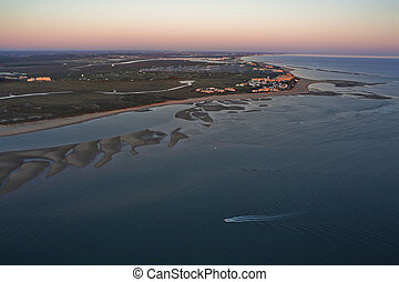 aerial view of the beach of Isla Canela in Ayamonte, Huelva,...