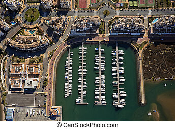 aerial view of the marina of Isla Canela in Ayamonte,...
