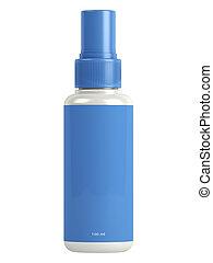 azul, botella, rociar