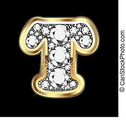 T gold and diamond bling