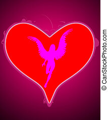 Angel Of My Heart - Big love heart with an angel within it.