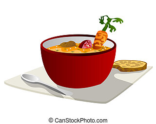 Soup graphic - Hot vegetable soup with spoon and bread slice...