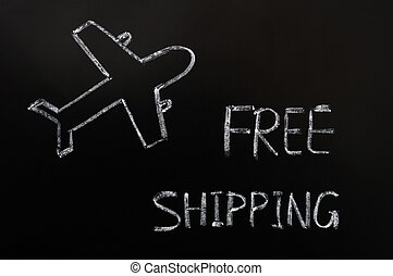 Free shipping concept drawn in chalk on a blackboard
