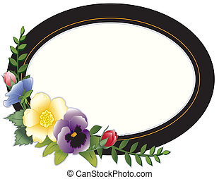 Vintage Frame, Pansies and Roses - Oval Victorian frame with...