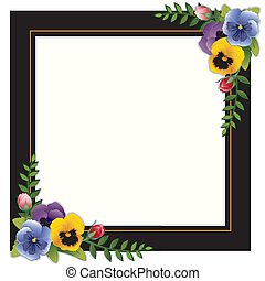 Vintage Frame, Pansies and Roses