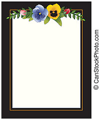 Vintage Frame, Pansies and Roses - Victorian frame with...