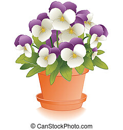 Johnny Jump Ups in Clay Flowerpot - Johnny Jump Up Pansy...
