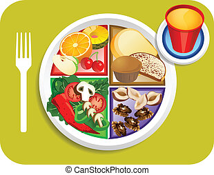 Food My Plate Vegan Breakfast Portions - Vector illustration...
