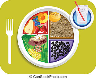 Vegan Dinner Food My Plate - Vector illustration of Vegan or...