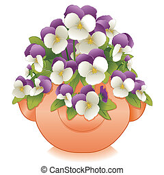 Johnny Jump Ups, Clay Planter - Johnny Jump Up Pansy flowers...