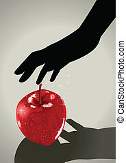 Temptation - Silhouette illustration of a woman hand...