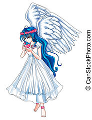 Angel - Cartoon illustration of a beautiful angel holding a...