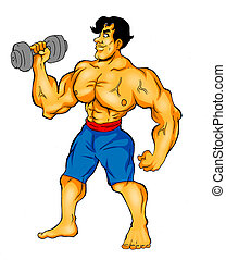 Body Builder - Cartoon illustration of a muscular man...