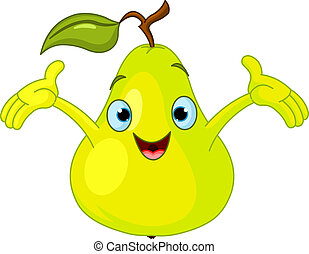 Cheerful Cartoon Pear character - Illustration of Cheerful...
