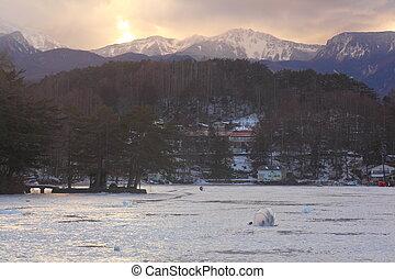 Ice lake fishing. Smelt fishing. Lake matsubara. Nagano....