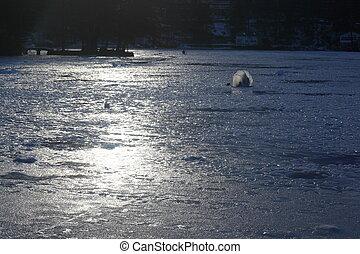 Ice lake fishing - Ice lake fishing. Smelt fishing. Lake...