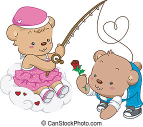 Caught in Love - Illustration of Female Teddy Bear Out...