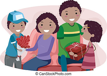 Valentine Gifts - Illustration of Kids Giving Their Parents...